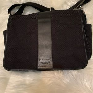 Coach black cloth messenger bag w/ signature logo